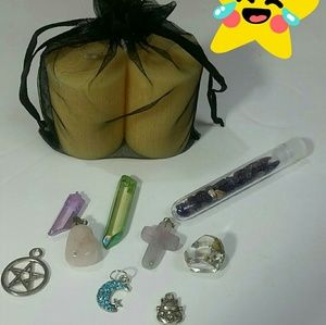 Wiccan charm necklace with crystal vial gift